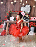 Red Tutu Dress, Red Pageant Dress, Red Sequin Tutu