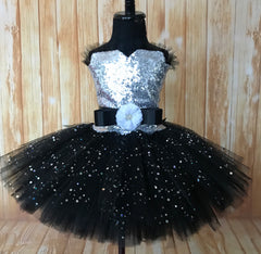 Black Girls Tutu, Black Girls Tutu Dress, Girls Black Sequin Pageant Dress - Little Ladybug Tutus