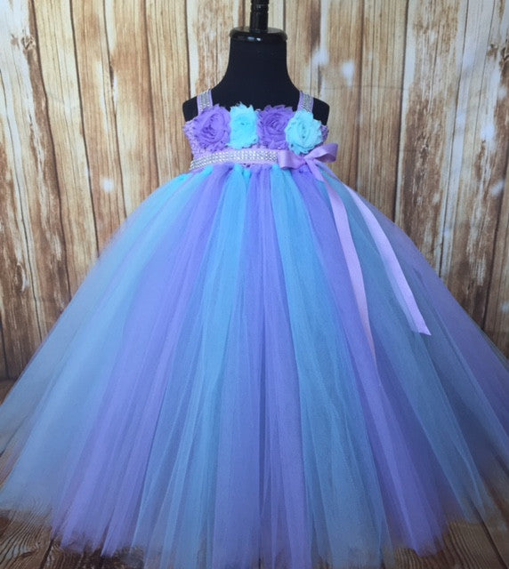 Aqua & Lavender Girls Tutu Dress, Aqua Flower Girl Dress, Aqua & Lavender Flower Girl Dress
