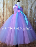 Aqua Pink Lavender Tutu Dress, Aqua Flower Girl Dress, Aqua Pink and Lavender Flower Girl Dress - Little Ladybug Tutus