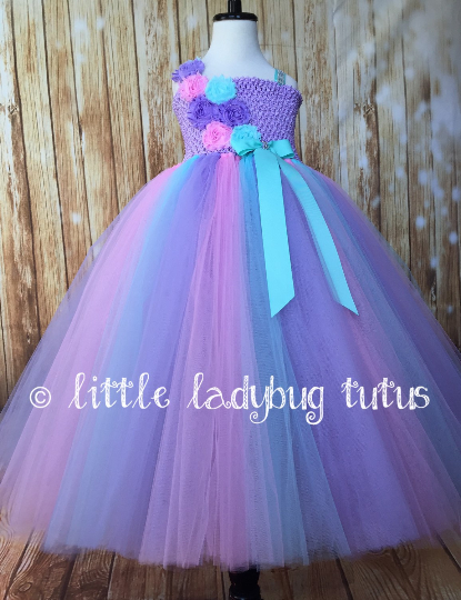 Aqua Pink Lavender Tutu Dress, Aqua Flower Girl Dress, Aqua Pink and Lavender Flower Girl Dress