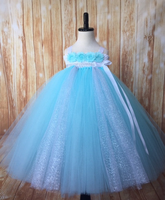 Aqua & Silver Tutu Dress, Aqua Flower Girl Dress, Aqua & Silver Flower Girl Dress, Girls Aqua Tulle Dress - Little Ladybug Tutus