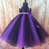 Purple and Black Tutu, Black and Purple Flower Girl Tutu Dress, Girls Purple and Black Halloween Pageant Dress, Purple and Black Empire Waist Tutu Dress, Purple Tulle Dress, Halloween Wedding, Purple and Black Pageant Tutu - Little Ladybug Tutus