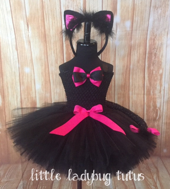 Cat Tutu, Girls Cat Tutu, Black Cat Tutu, Black & Pink Cat Tutu Costume, Cat Costume - Little Ladybug Tutus