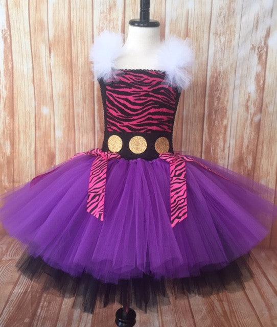 Monster High Tutu, Clawdeen Tutu, Clawdeen Tutu Dress, Girls Clawdeen Costume - Little Ladybug Tutus
