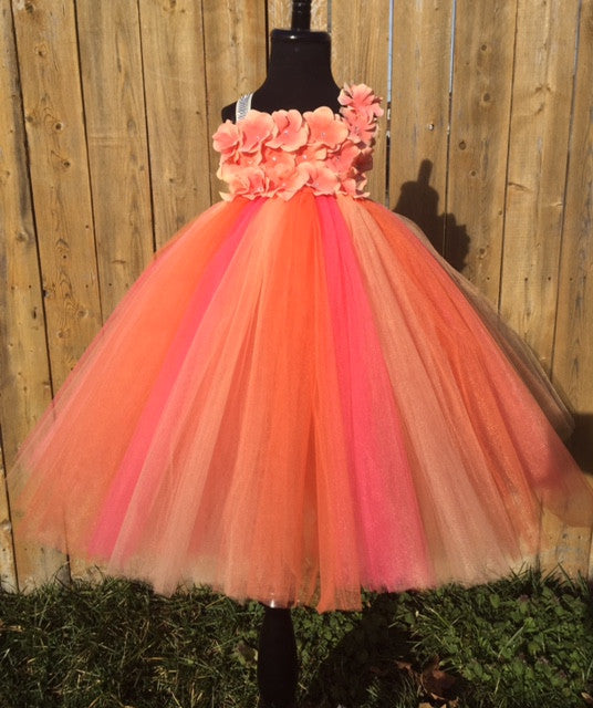 Coral Tutu Dress, Coral Flower Girl Dress, Coral Pageant Tutu, Coral and Orange Hydrangea Tutu Dress