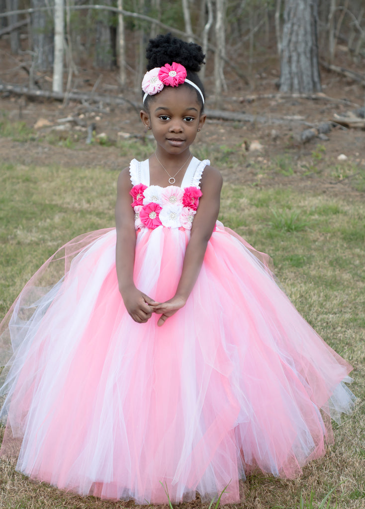 Coral, Pink & White Flower Girl Tutu Dress