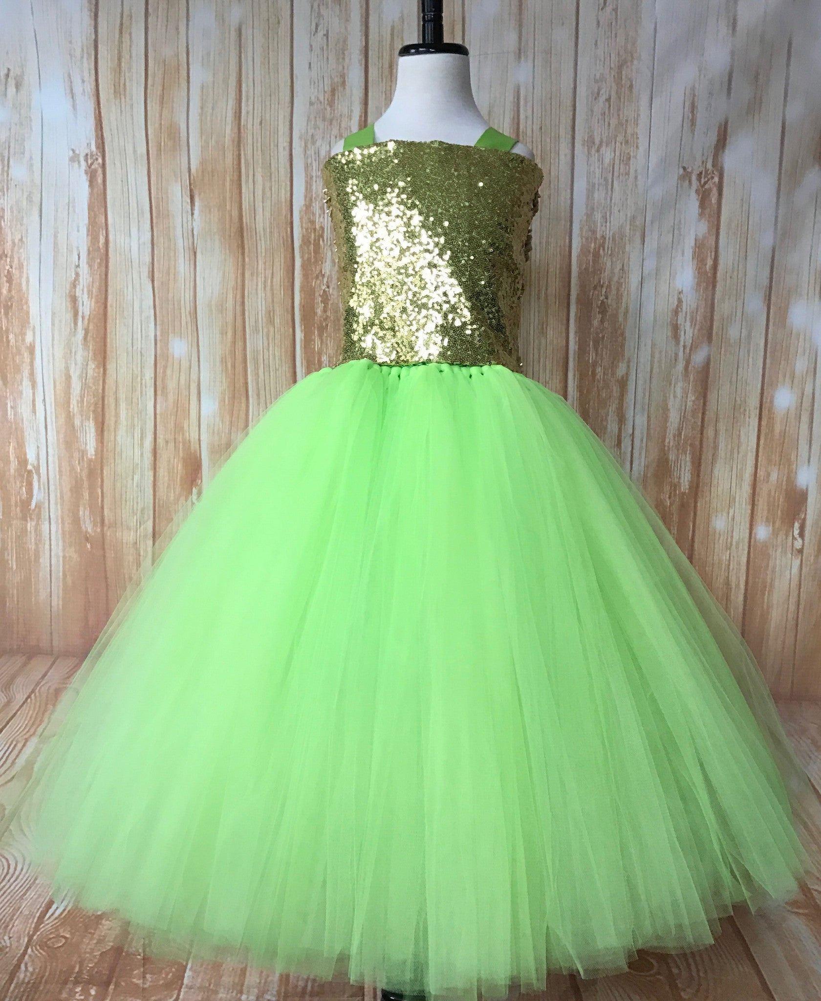 Green Tutu, Girls Green & Gold Tutu Dress, Apple Green Tutu, Green Pageant Tutu - Little Ladybug Tutus