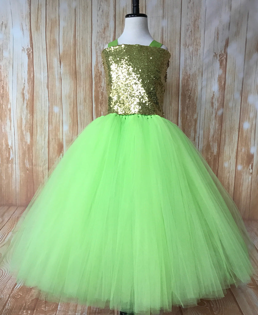 Green Tutu, Girls Green & Gold Tutu Dress, Apple Green Tutu, Green Pageant Tutu