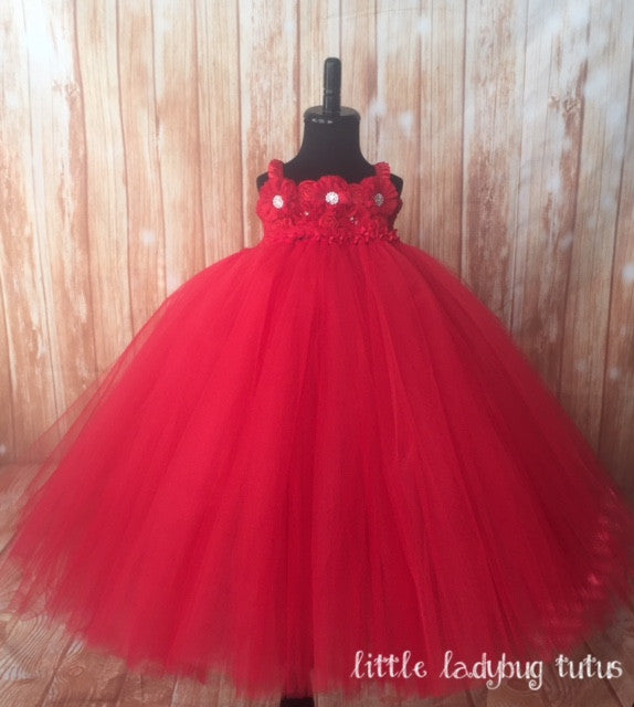 Red Tutu, Red Tulle Dress, Red Flower Girl Dress, Red Photography Prop Dress for Girls - Little Ladybug Tutus
