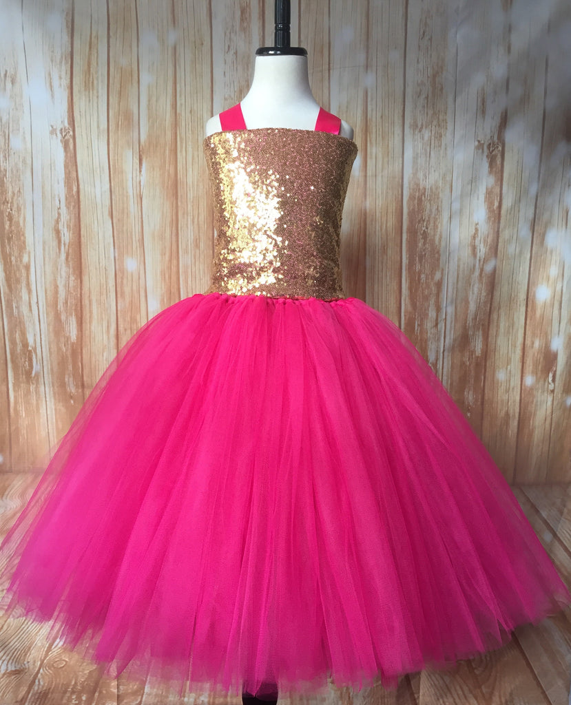 Gold & Pink Tutu, Gold and Hot Pink Tutu Dress, Girls Hot Pink & Gold Pageant Tutu