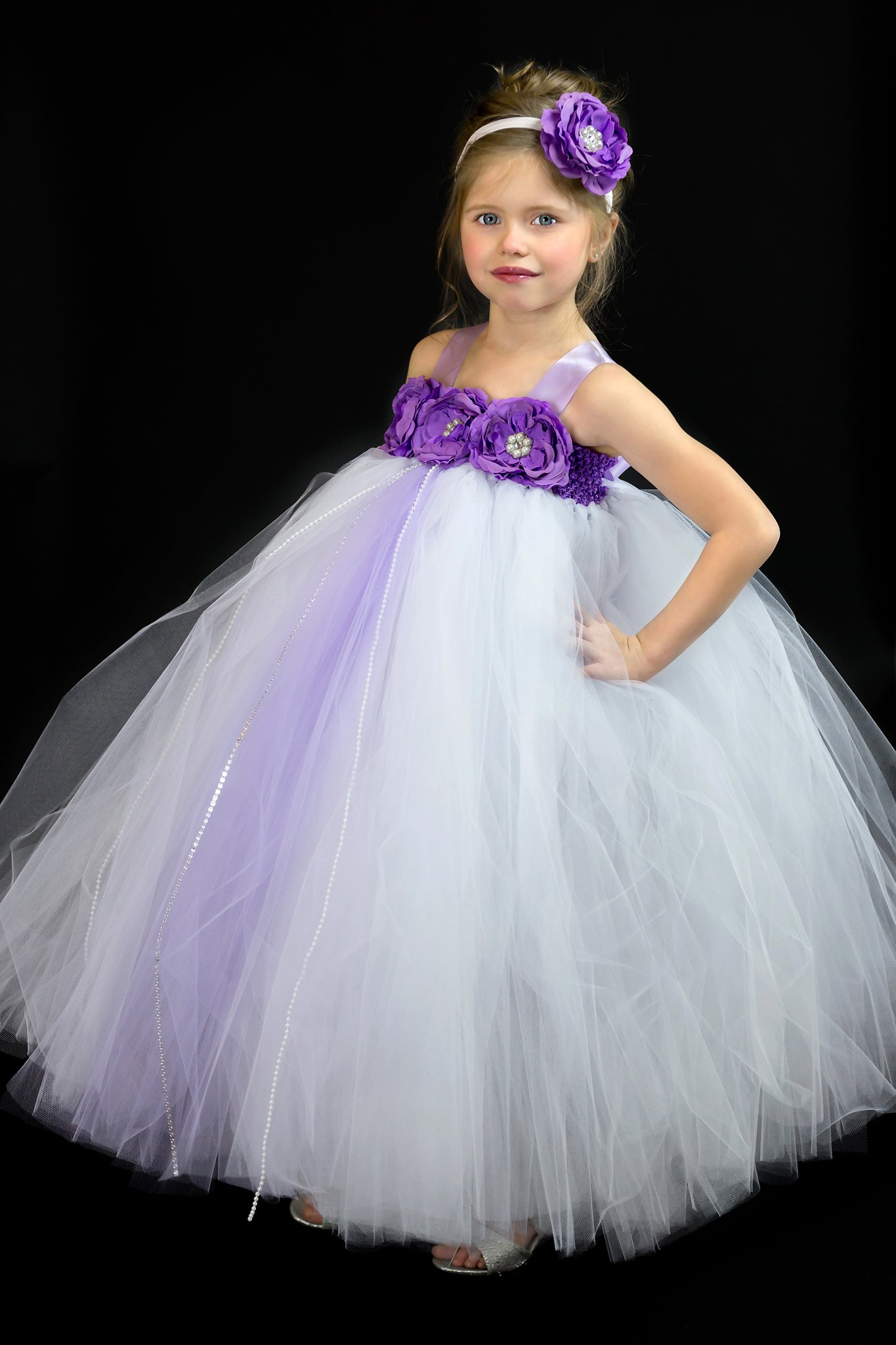 White and Purple Flower Girl Dress 534b1d30d