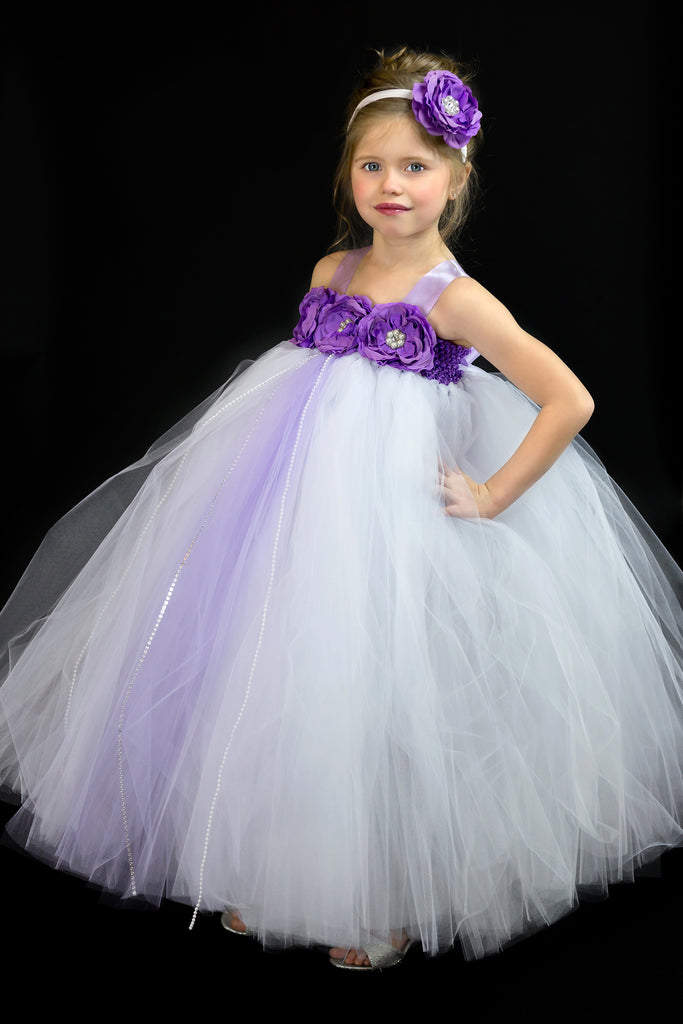 White and Purple Flower Girl Dress, White Tutu, White and Purple Girls Tutu Dress