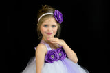 White and Purple Flower Girl Dress, White Tutu, White and Purple Girls Tutu Dress - Little Ladybug Tutus
