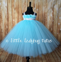 Aqua Tutu Dress, Aqua Flower Girl Dress, Aqua Tutu, Girls Aqua Tulle Tutu Dress, Aqua Blue Tutu Dress - Little Ladybug Tutus