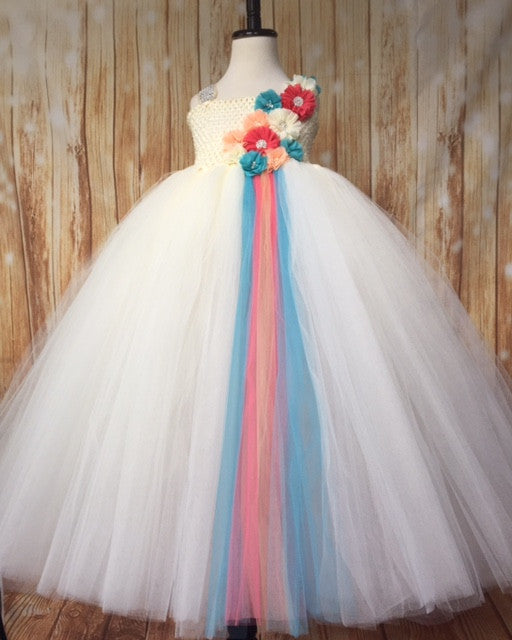 Ivory Tutu, Ivory Coral Peach and Turquoise Tutu Dress, Ivory Flower Girl Tutu Dress
