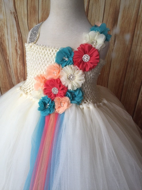Ivory Tutu, Ivory Coral Peach and Turquoise Tutu Dress, Ivory Flower Girl Tutu Dress - Little Ladybug Tutus