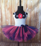 Ivory Navy Coral Tutu, Navy Flower Girl Dress, Girls Navy Coral Tutu Dress - Little Ladybug Tutus