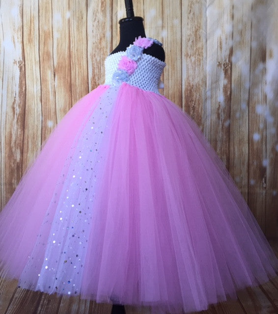 Pink Tutu Dress, Pink Flower Gold Dress, Pink Photography Prop Dress - Little Ladybug Tutus