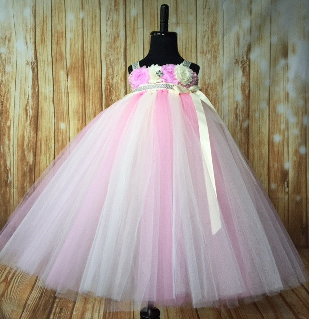 Pink & Ivory Tutu, Pink and Ivory Empire Waist Tutu Dress, Pink and Ivory Flower Girl Tutu, Pink and Ivory Wedding, Pink and Ivory Birthday Tutu, Pink and Ivory Girls Party Dress, Spring Wedding, Summer Wedding - Little Ladybug Tutus