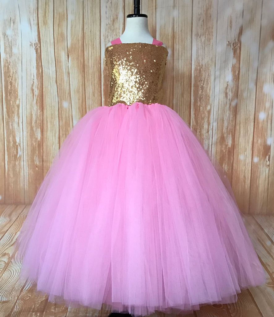 Gold & Pink Tutu, Gold and Pink Girls Tutu Dress, Girls Pink & Gold Pageant Tutu