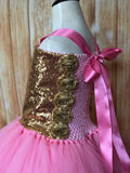 Gold & Pink Tutu, Gold and Pink Girls Tutu Dress, Girls Pink & Gold Pageant Tutu - Little Ladybug Tutus