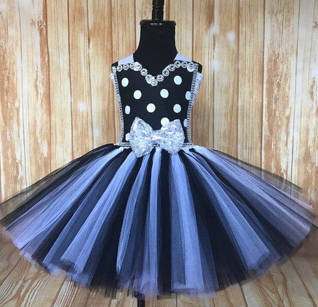 Black & White Polka Dot Tutu Dress, Girls Black and White Tutu, Girls Party Dress - Little Ladybug Tutus