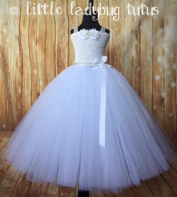 White Tutu, White Tutu Dress, Girls White Gown, White Wedding, White ...