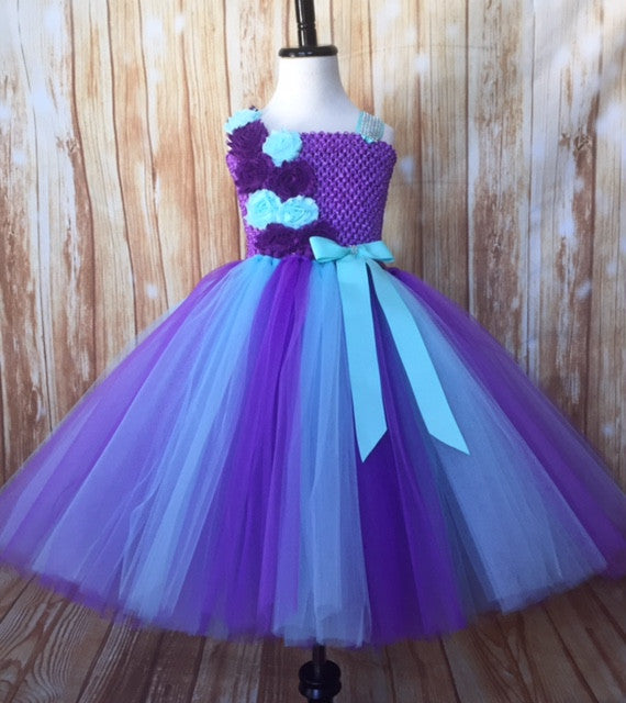 Purple and Aqua Flower Girl Tutu Dress