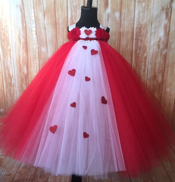 Valentines Day Tutu Dress, Valentine's Day Tutu Dress, Girls Cupid Tutu, Girls Cupid Dress, Red Valentines Day Tutu, Red and White Valentine's Day Tutu, Red Cupid Tutu Dress, Valentine's Day Photo Session Tutu Dress, Red and White Empire Waist Tutu - Little Ladybug Tutus