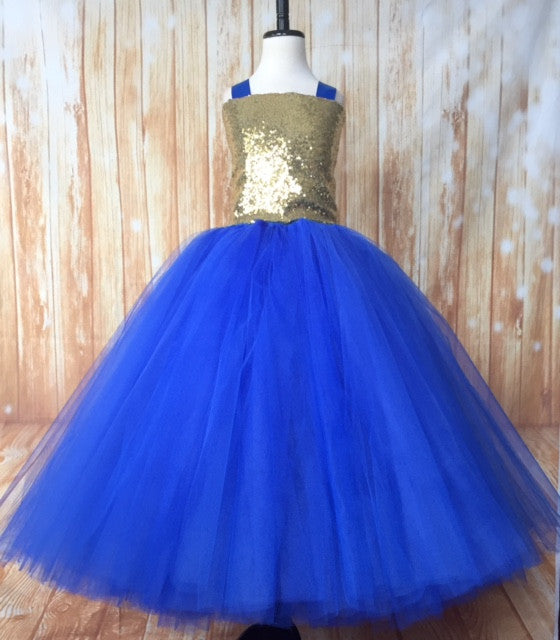 Gold & Blue Tutu, Gold and Blue Tutu Dress, Girls Royal Blue & Gold Tutu, Gold and Royal Birthday Tutu, Gold Flower Girl Tutu, Gold Pageant Tutu, Royal Tutu, Royal Blue Tutu, Royal Blue Tutu Dress, Girls Royal Blue Flower Girl Dress, Royal Blue Wedding - Little Ladybug Tutus