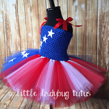 Stars & Stripes Tutu Dress, American Flag Tutu, Girls Patriotic Tutu - Little Ladybug Tutus