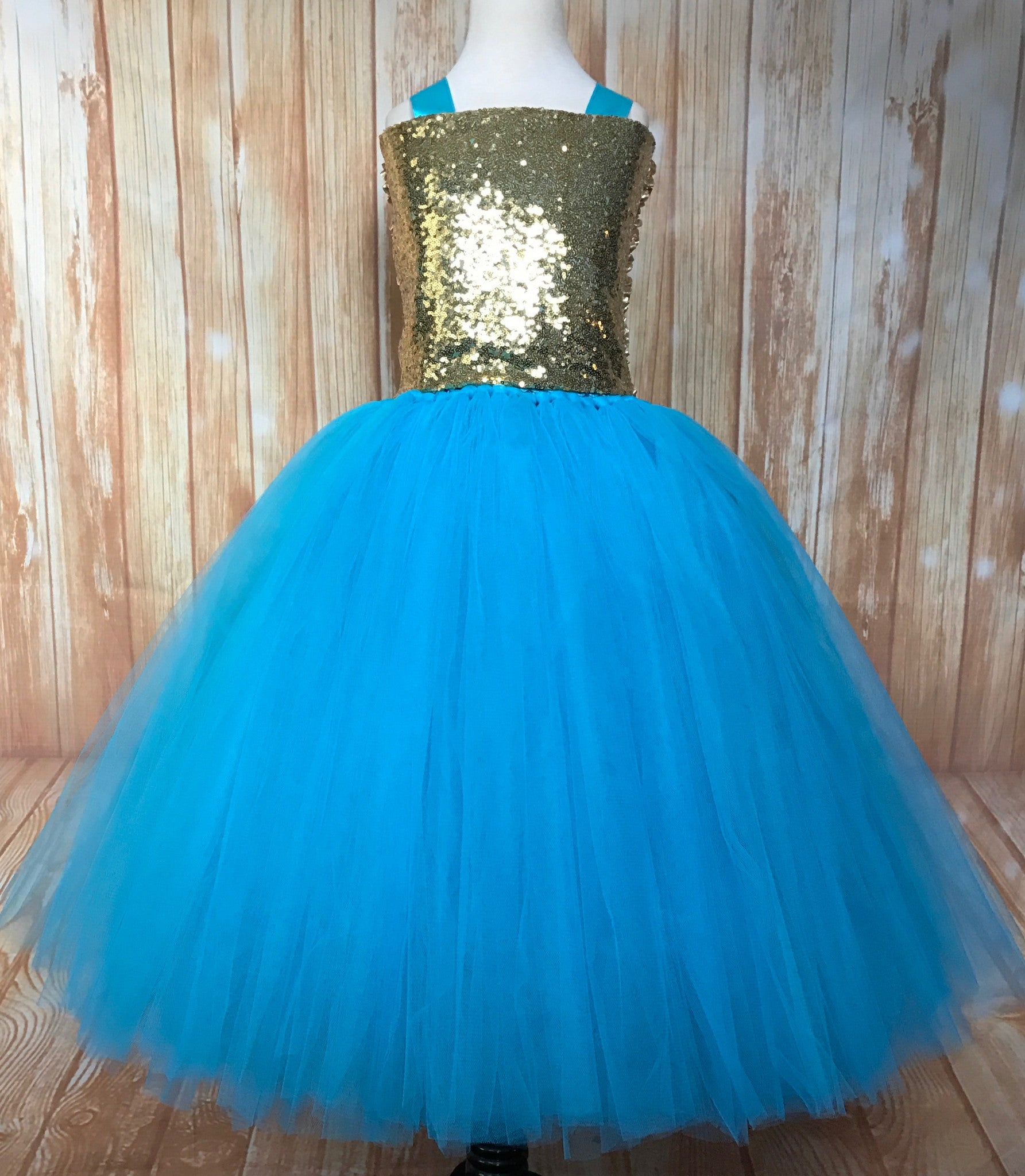 Turquoise & Gold Tutu, Girls Turquoise Gold Dress, Turquoise Flower Girl Dress - Little Ladybug Tutus