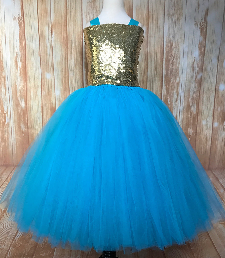 Turquoise & Gold Tutu, Girls Turquoise Gold Dress, Turquoise Flower Girl Dress