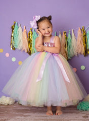 Pastel Rainbow Tutu Dress, Easter Tutu, Girls Easter Tulle Dress - Little Ladybug Tutus