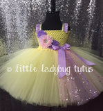Yellow Tutu, Yellow Tulle Dress, Yellow Tutu Dress, Easter Tutu, Easter Tulle Dress, Easter Tutu Dress, Yellow Flower Girl Dress, Yellow Flower Girl Tutu, Yellow and Lavender Tutu, Lavender and Yellow Tulle Dress, Spring Wedding, Summer Wedding - Little Ladybug Tutus