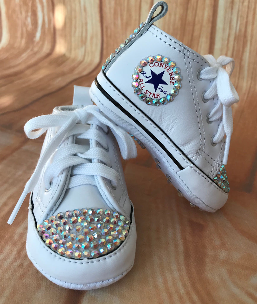 Blinged White Converse Sneakers, Infants and Toddler Size 1-3