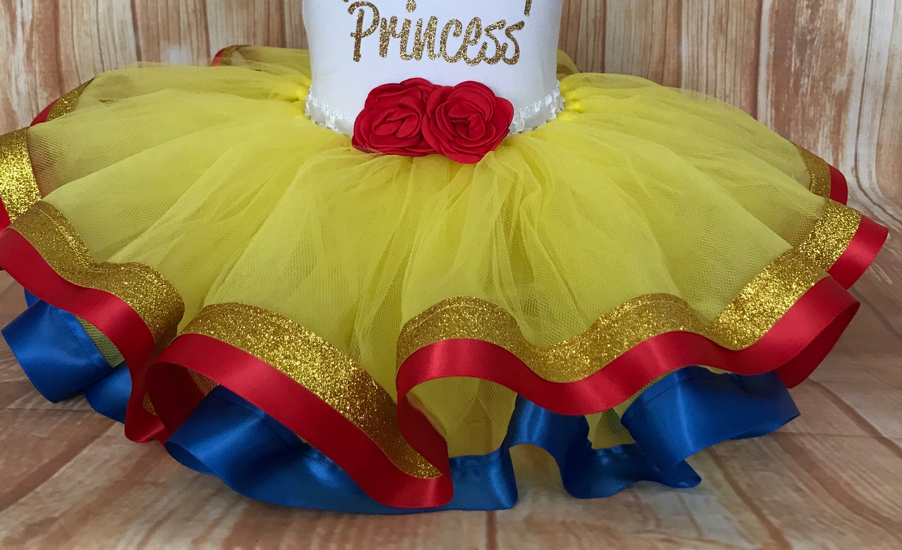 Belle or Snow White  Tutu Skirt, Belle Birthday, Snow White Birthday, Beauty and the Beast Party