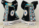 Tik Tok Blinged Converse Sneakers All Stars, Big Kids Shoe Size 3-6