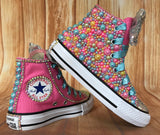Baby Shark Color Themed Converse All Stars, Big Kids Shoe Size 3-6