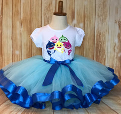 Baby Shark Tutu Set, Blue Baby Shark Birthday Outfit, Baby Shark Birthday, Baby Shark Party