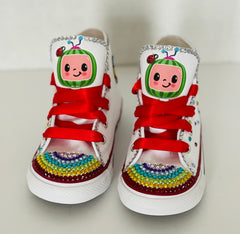 Cocomelon Blinged Converse Sneakers, Infants and Toddler Shoe Size 2-9