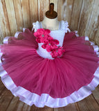 Pink and White Ribbon Trim Tutu, Pink Tutu Dress - Little Ladybug Tutus