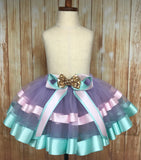 Ribbon Trimmed Fully Sewn Bolt Tulle Tutu Skirt, customized in any color choice - Little Ladybug Tutus