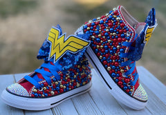 Wonder Woman Blinged Converse, Big Kids Shoe Size 3-6