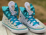 Frozen Elsa Blinged Converse, Infants and Toddler Shoe Size 2-9 (Hard Sole)