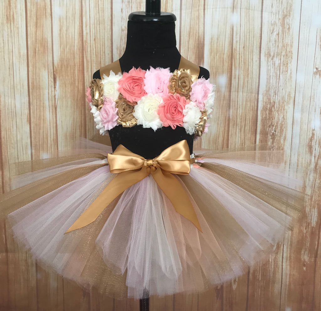 Smash Cake Tutu, 1st Birthday Tutu, Peach and Gold 1st Birthday Outift