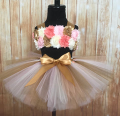 Smash Cake Tutu, 1st Birthday Tutu, First Birthday Tutu, Smash Cake Tutu Set, Baby Tutu, Toddler Tutu, Birthday Tutu, Smash Cake Props, 1st Birthday Photo, Photo Prop, Photo Smash Cake Tutu, Peach Ivory and Gold Smash Cake Tutu - Little Ladybug Tutus