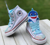 Baby Shark Converse, Infants and Toddler Shoe Size 2-9 (Hard Sole), Blue Baby Shark