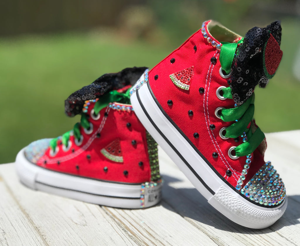 Watermelon Blinged Converse, Big Kids Shoe Size 3-6